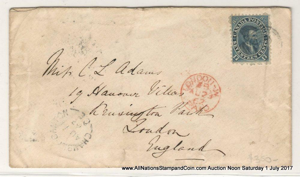 Canada #19a 11 Au 1862 17c Transatlantic Cover w/ various markings $400
