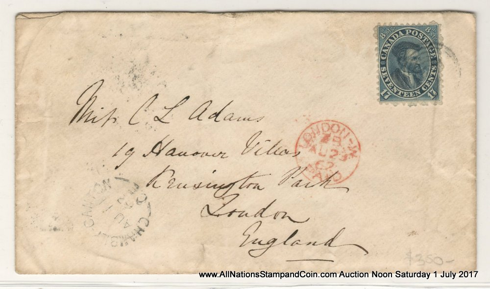Canada #19a 11 Au 1862 17c Transatlantic Cover w/ various markings $400