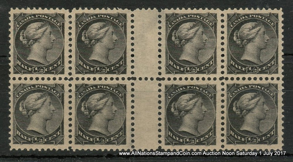 Canada #34 VFNH 1882 1/2c Black SQ Gutter Block of eight with offset