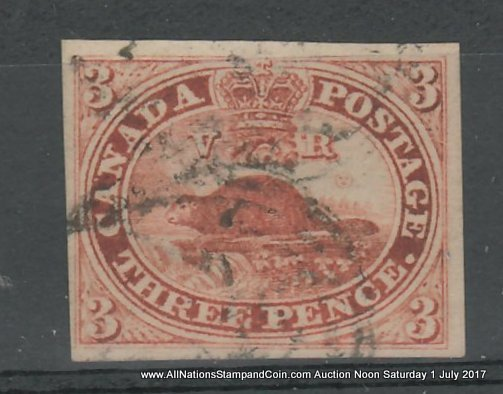 Canada #4a VF Used 1853 3d Brown Red