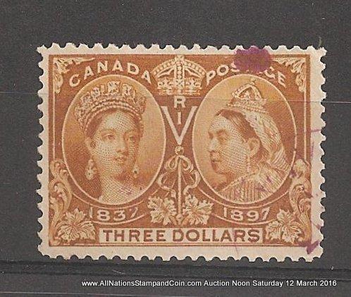 Canada #63 F/VF Winnipeg Magenta Used 1897 $3 Jubilee folded perfs $1200