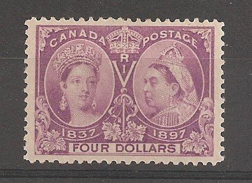 Canada #64 F/VF Mint 1897 $4 Jubilee trivial wrinkle