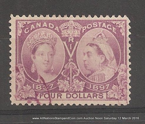 Canada #64 F/VF face free matching Purple Used 1897 $4 Jubilee rounded corner