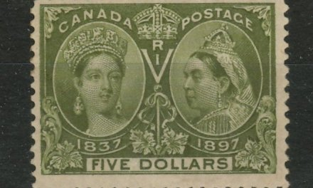 Canada #65 Fine regummed 1897 $5 Jubilee, re-entry, wrinkle