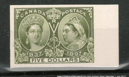 Canada #65P VF right margin 1897 $5 Jubilee Plate Proof, only 800 issued