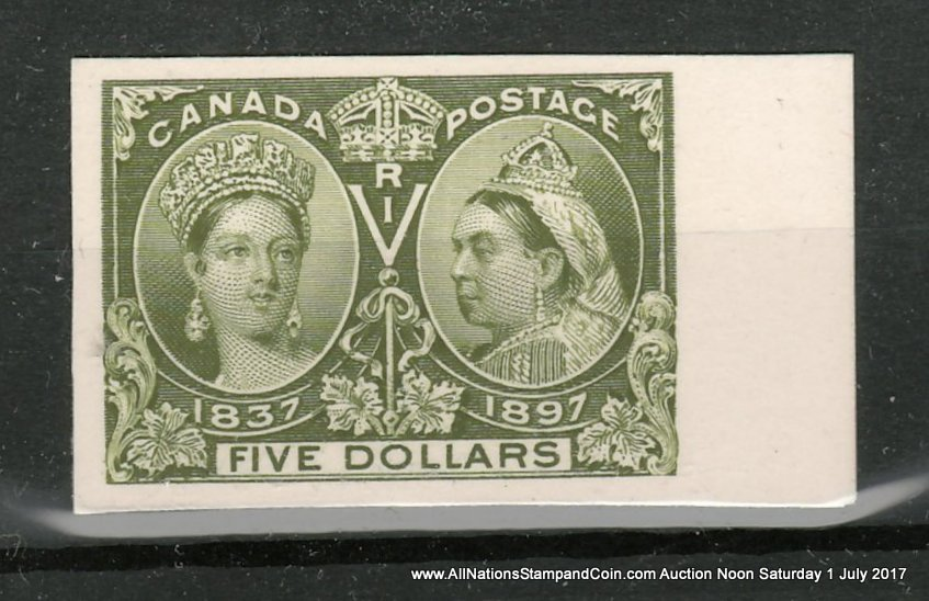 Canada #65P VF right margin 1897 $5 Jubilee Plate Proof, only 800 issued $800