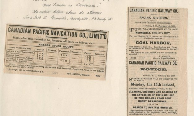 Canadian Pacific Railway 1886 newspaper clipping duo Pg 82 Wellburn Vancouver