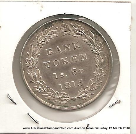 Great Britain Unc 1815 1 Shilling 6 Pence George III Silver Bank Token