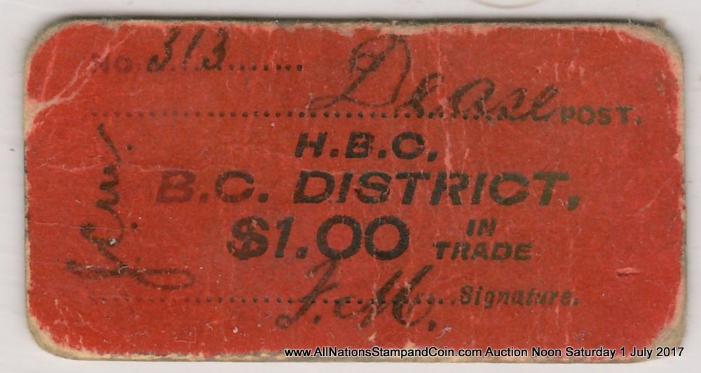 Hudson's Bay Company/Dease Post, B.C. VG $1 Scrip $1000