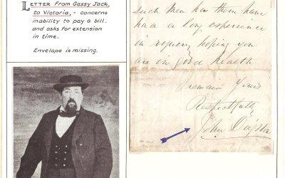 John Gassy Jack Deighton Signed 11 March 1875 ex Wellburn
