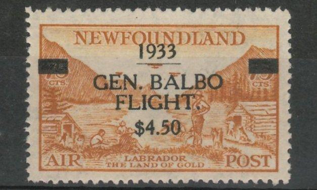 Newfoundland #C18 VFNH 1933 $4.50 on 75c Balbo Airmail, perf corner crease