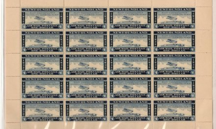 Newfoundland Mint 1932 $1 Wayzata Airmail Sheet of 20, album offset on 10