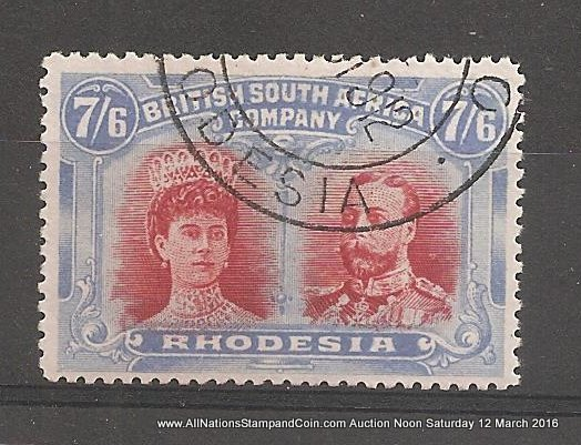 Rhodesia #116 Fine+ Used 1910 7/6d Double Head