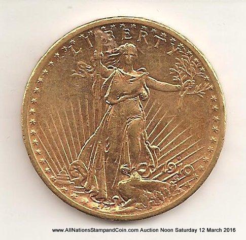 U.S.A. AU 1910S $20 Saint-Gaudens Gold Double Eagle
