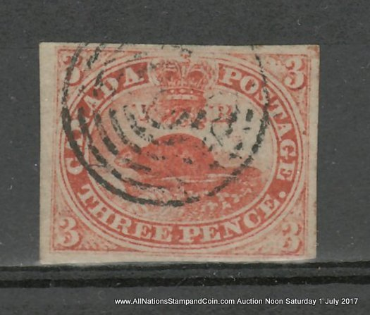 Canada #1a F/VF Used 1851 3d Orange Red pencil note on back