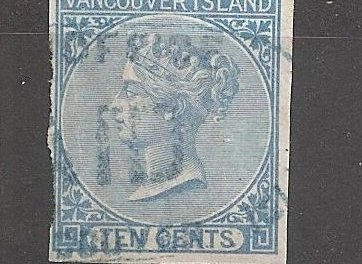 Vancouver Island #4 Fine Used 1865 10c Imperf with 1980 R.P.S.L. Certificate