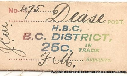 Hudson's Bay Company B.C. District XF Dease 25c Card Money