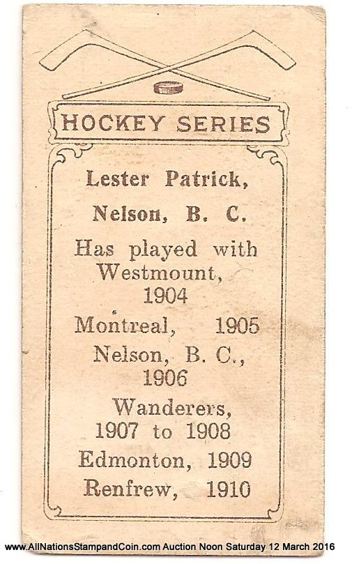 Lester Patrick 1910/1911 C56 #26 Rookie Hockey Card corner crease