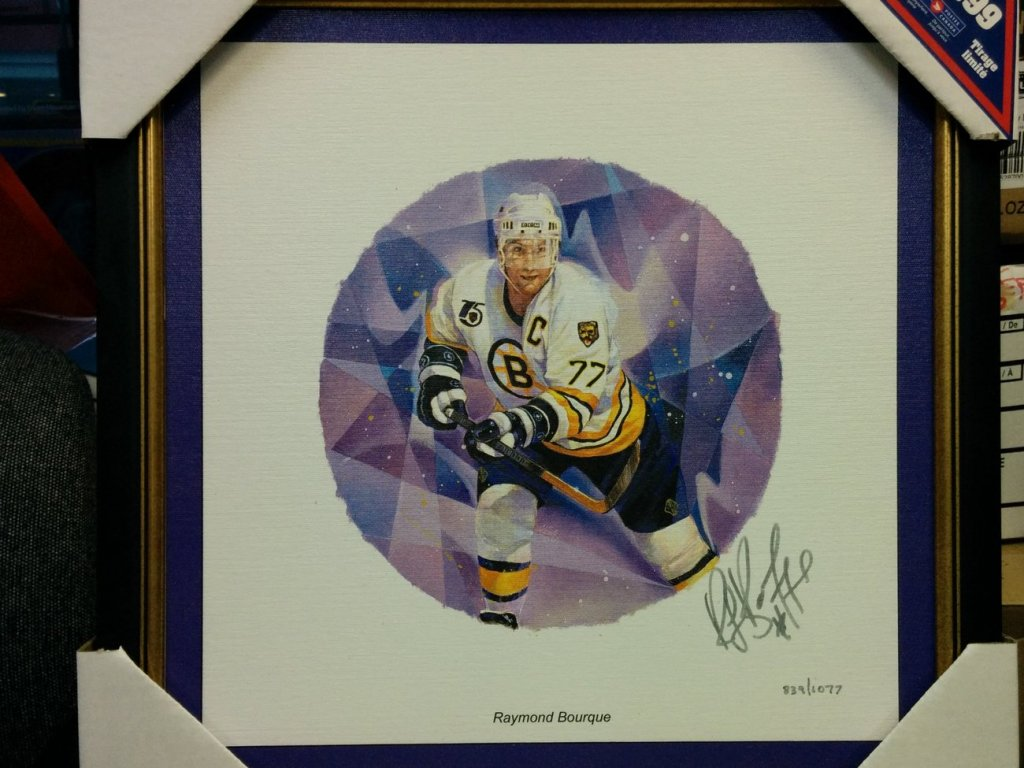 Ray Bourque Framed Autographed #839/1077 Lithograph & 2003 stamp w/ COA