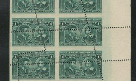 Dramatic Misperf/Foldover Block of 16 mint 1c Quebecs