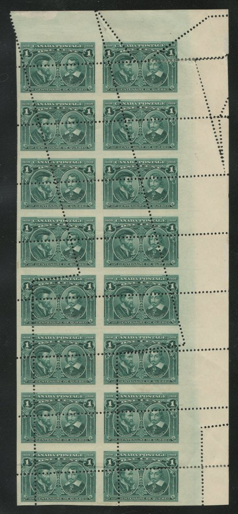 46Canada #97var mainly NH Dramatic Misperf/Foldover Block of 16
