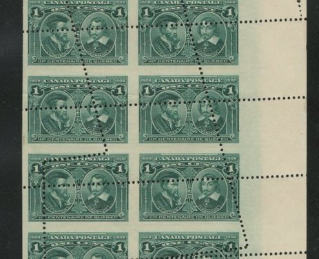 Dramatic Misperf/Foldover Block of 16 mint 1c Quebecs
