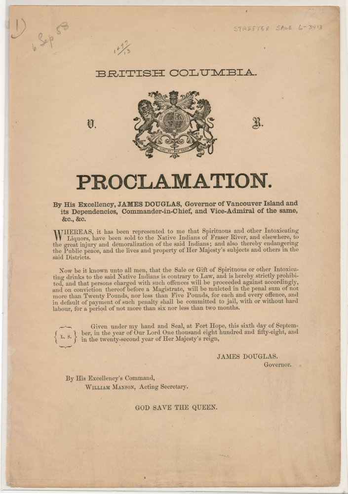 lot 101 British Columbia 15 Sep 1858 2nd Proclamation from Gov. Douglas