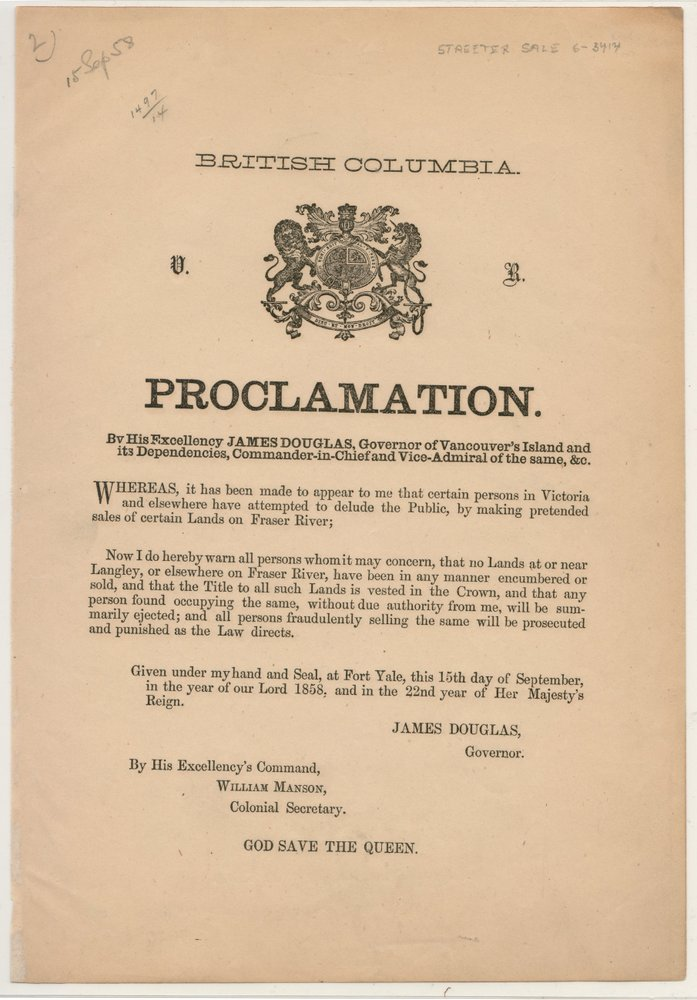 British Columbia 15 Sep 1858 2nd Proclamation from Gov. Douglas