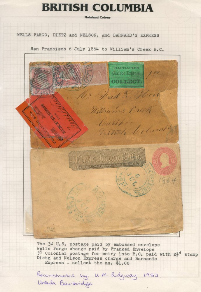 104	British Columbia 1864 S.F./William's Creek reconstructed Cover