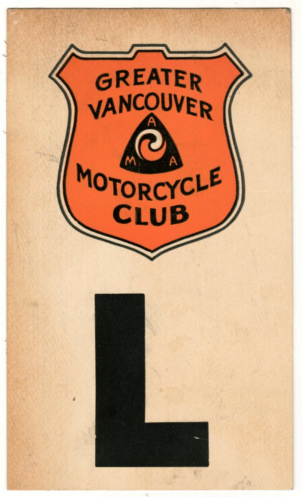 "Greater Vancouver Motorcycle Club colour 51/4x91/4"" L Permit"