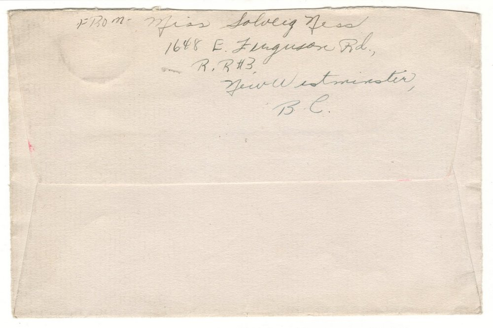 Back of envelope, New Westminster, B.C. address