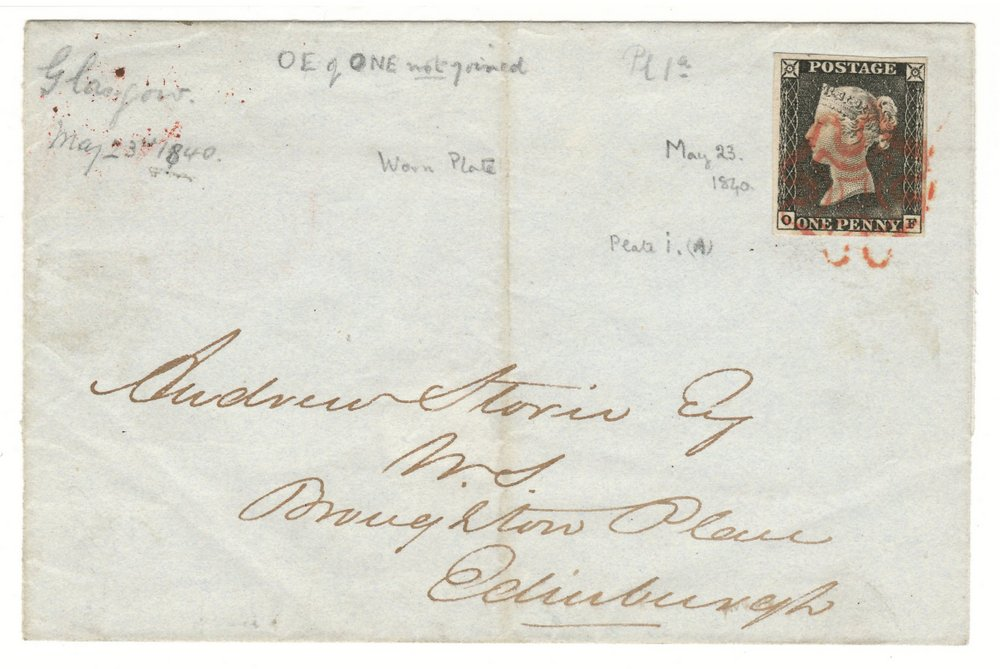 Glasgow 23 May 1840 1d Black Folded Letter Sheet to Edinburgh
