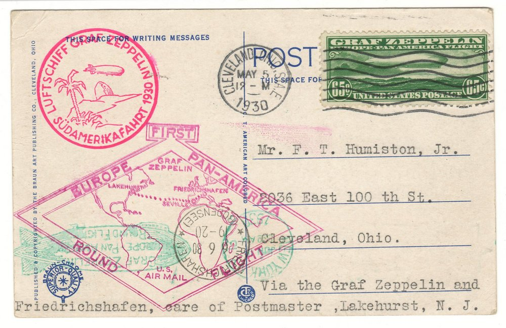 U.S.A. #C13 5 May 1930 65c Zeppelin Flight Postcard