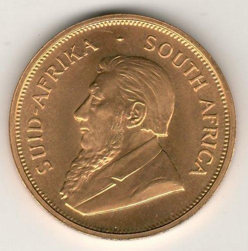 South Africa BU 1974 Ounce Gold Krugerrand .9939oz AGW obverse