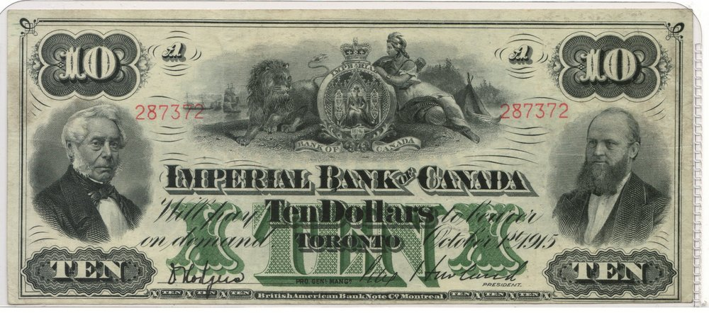 Lot 198 Imperial Bank of Canada Fine+ 1915 $10 Bill $750.+