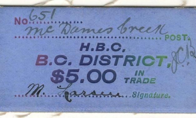 Hudson's Bay Company B.C. District McDames Creek $5 Card Money