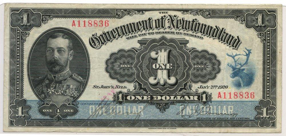 200 Newfoundland #NF13d Fine 1920 $1 Banknote