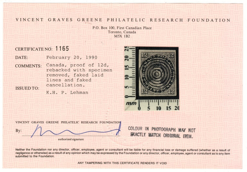 Canada #3F 1851 12d Black Forgery 1990 Pink Cert