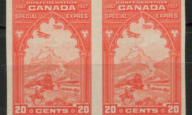 Canada #E3c 1927 20c Perf by Imperf Horizontal Pair