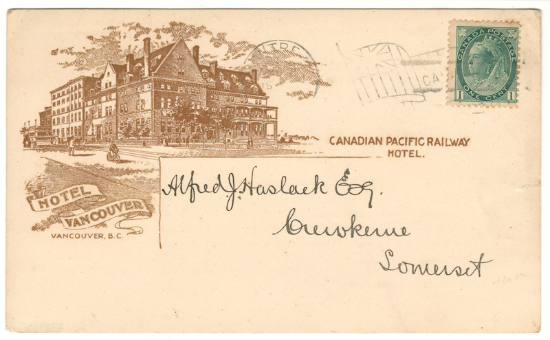 Lot 98 Hotel Vancouver 1900 1c Montreal Flag C.P.R. Earnings Postcard to UK