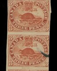 Strip of 10 three penny beavers