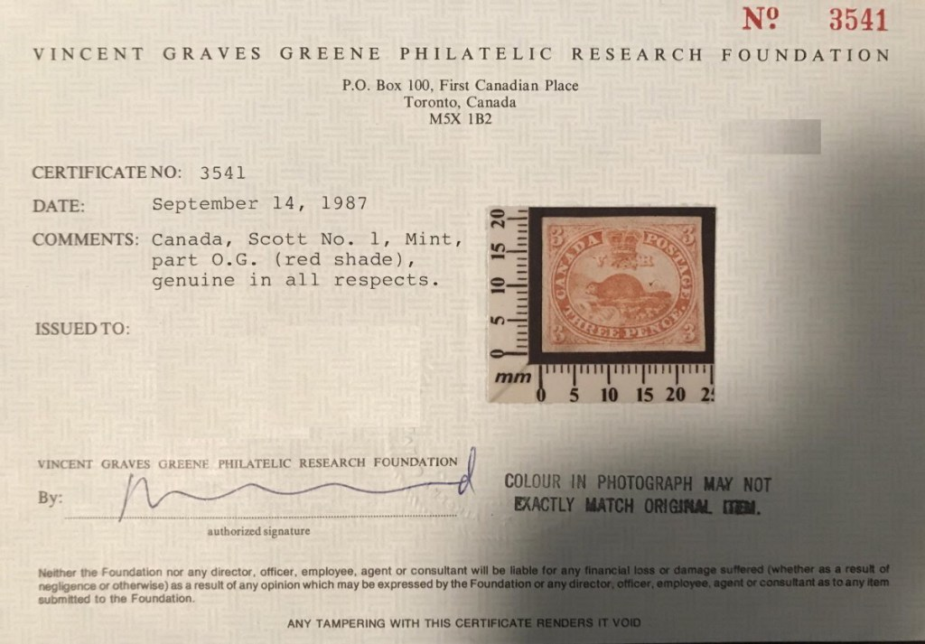 Certificate for Canada's first stamp