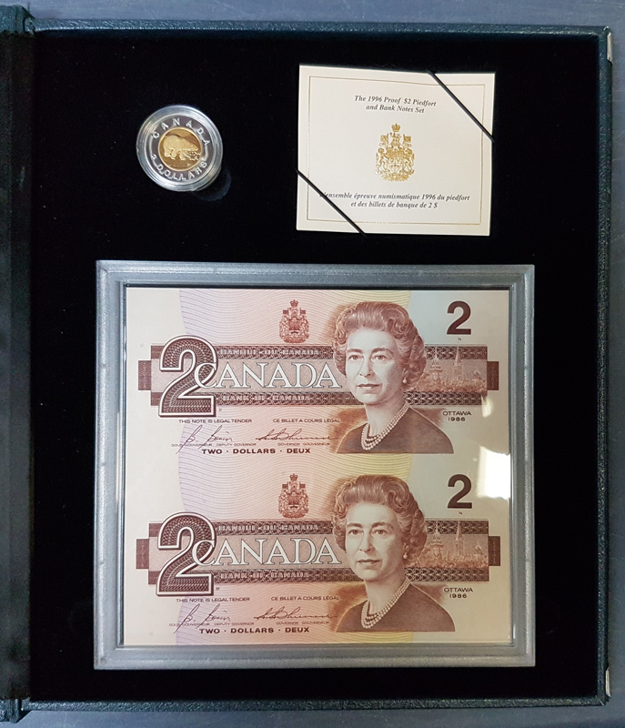 Canada Proof 1996 Piedfort Silver $2 & Uncut Replacement $2 Bills Set