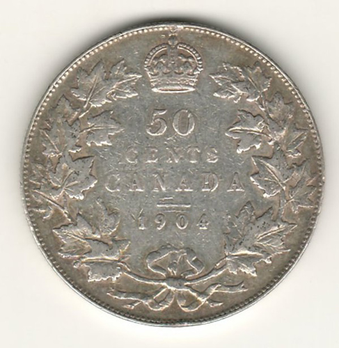 Lot 186 Canada VF 1904 Silver 50 Cents $900.