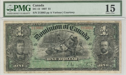 Dominion of Canada #DC-12 PMC F-15 1897 $1 Log Drive