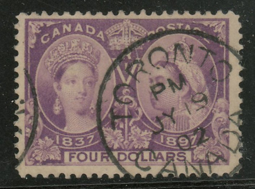 Lot 23 Canada #64 F/VF 10 Jl 1902 Toronto CDS Used $4 Jubilee $1200.