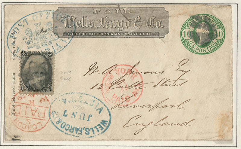 Wells Fargo 1869 mixed franked Cover to Liverpool, tear, ex Wellburn