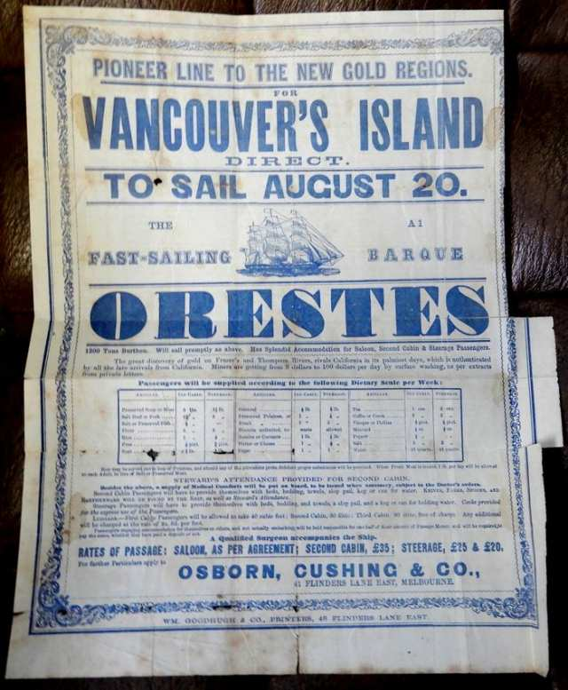 Broadsheet Orestes to Vancouver's Island