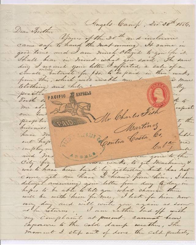 Pacific Express 30 De 1856 Paid 3c Angel's Camp 2-pg letter
