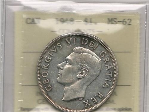 Canada ICCS MS62 1948 Silver Dollar